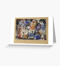 Paul Klee - Concentrierter Roman. Abstract painting: abstract art, geometric, Magic , composition, woman, man, people, spot, shape, illusion, fantasy future Greeting Card