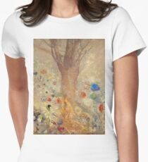 Odilon Redon - The Buddha 1904. Garden landscape: garden, trees and flowers, blossom, nature, Buddha , buddhism, meditating, think, meditation, relaxation, rest Women's Fitted T-Shirt