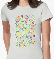 Fresh Fruit - a watercolor pattern Womens Fitted T-Shirt