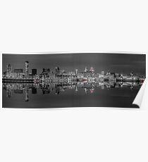 Liverpool skyline panorama at night Poster