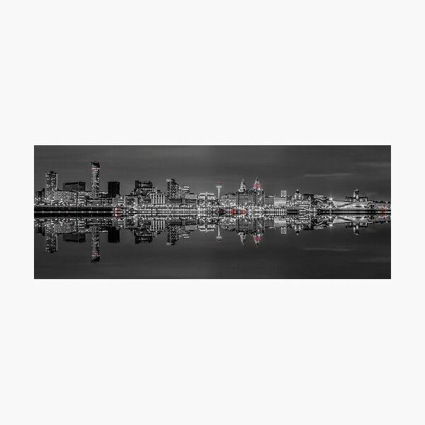 Liverpool skyline panorama at night Photographic Print