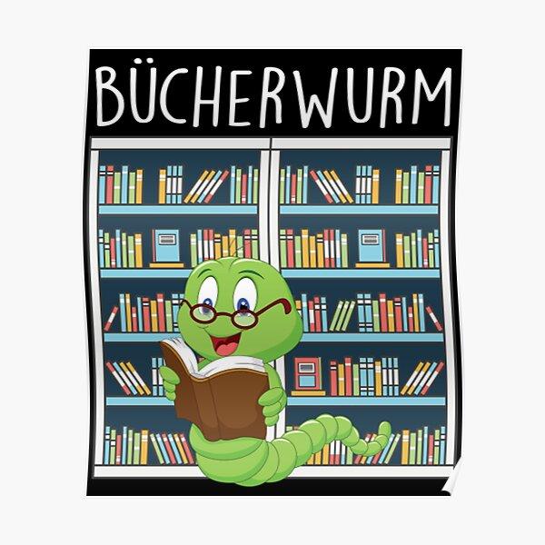 Bucherwurm in der Bibliothek Poster