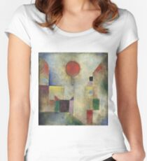 Paul Klee - Red Balloon. Abstract painting: abstract art, geometric, Balloon, composition, lines, forms, creative fusion, spot, shape, illusion, fantasy future Women's Fitted Scoop T-Shirt