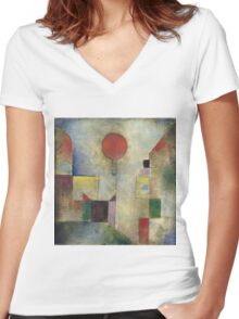 Paul Klee - Red Balloon. Abstract painting: abstract art, geometric, Balloon, composition, lines, forms, creative fusion, spot, shape, illusion, fantasy future Women's Fitted V-Neck T-Shirt