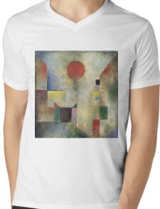 Paul Klee - Red Balloon. Abstract painting: abstract art, geometric, Balloon, composition, lines, forms, creative fusion, spot, shape, illusion, fantasy future Mens V-Neck T-Shirt