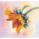 Sunflower Watercolor Throw Pillow by Pat Yager