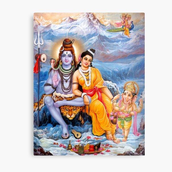 Shiva, Parvati and Ganesh Metal Print