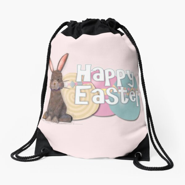 Adorable Easter Watercolor Rabbit Illustration Drawstring Bag