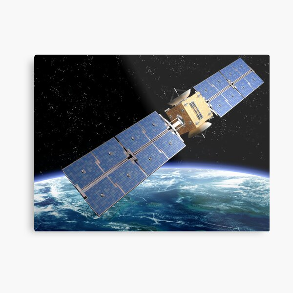 Communication Satellite Metal Print