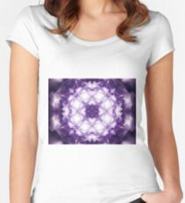 Violet Mandala - Abstract Fractal Artwork Women's Fitted Scoop T-Shirt