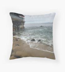 Rainy Beach View Throw Pillow