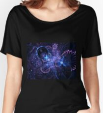 Blue Floral Pattern - Abstract Fractal Artwork Women's Relaxed Fit T-Shirt