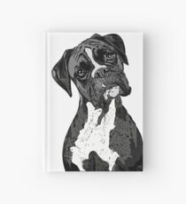 Black and White Boxer Art Hardcover Journal