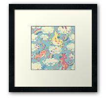 Fancy Rainbow Unicorns Framed Print