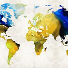 World Map 16 - Yellow And Blue Art By Sharon Cummings by Sharon Cummings
