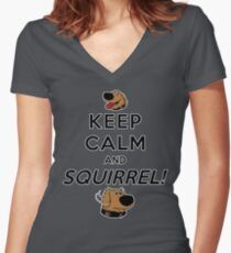 Keep Calm and SQUIRREL Women's Fitted V-Neck T-Shirt