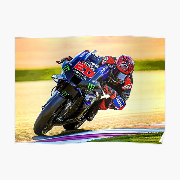 Fabio Quartararo racing his 2021 MotoGP motorcycle abstract Poster