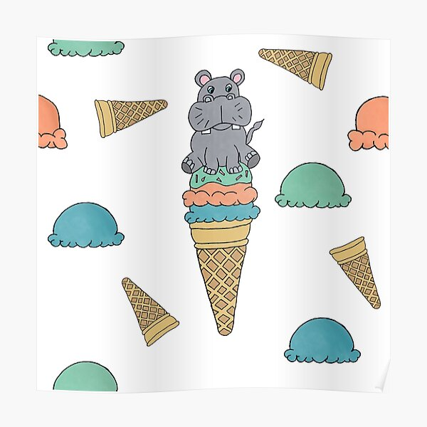 Cute Hippo sitting on an Icecream cone seamess surface pattern Poster