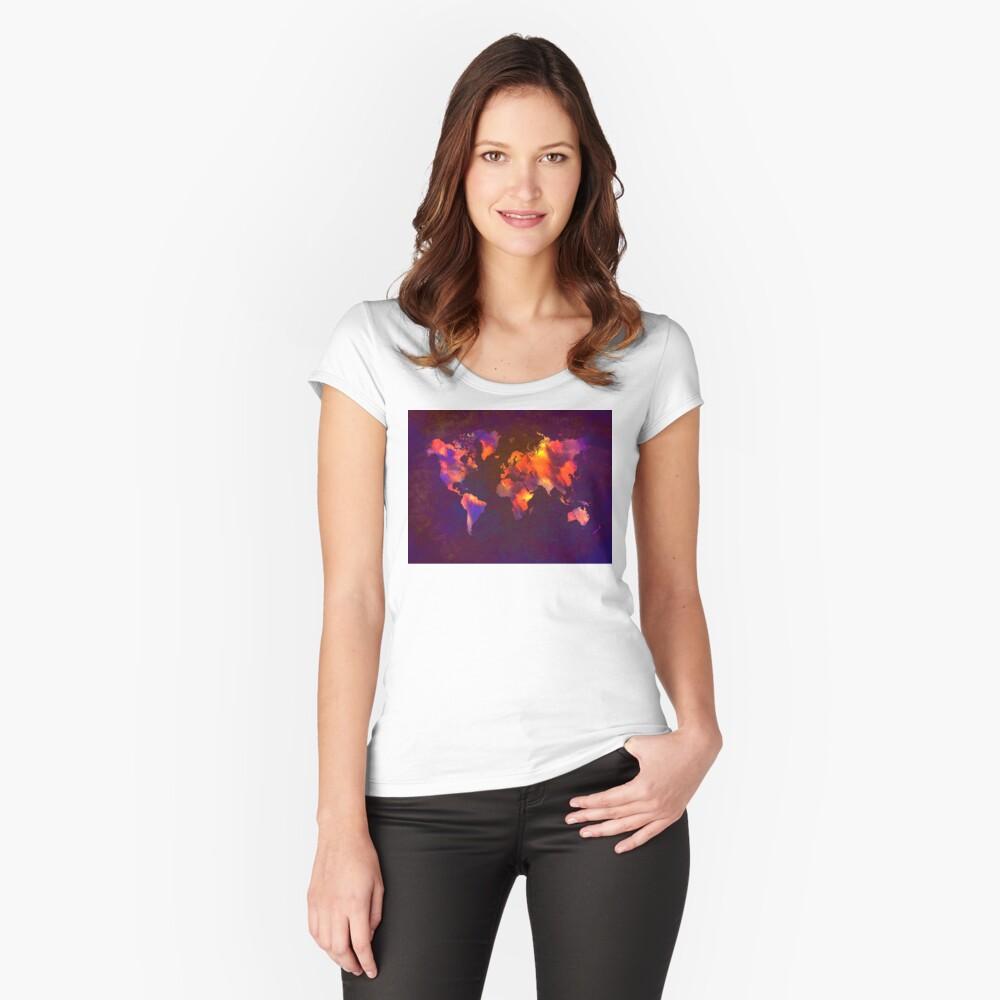 Weltkarte Tailliertes Rundhals-Shirt