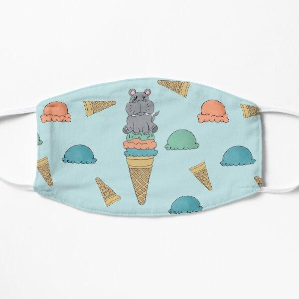 Cute Hippo sitting on an Icecream cone seamess surface pattern Flat Mask