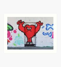 Cute Red Hairy Monster Art Print