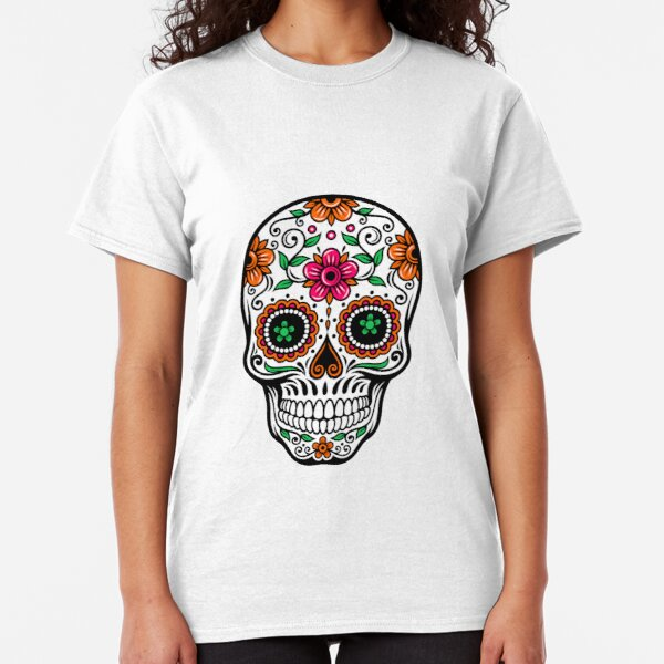 Colorful Sugar Skull & Retro FlowersPattern Background Classic T-Shirt