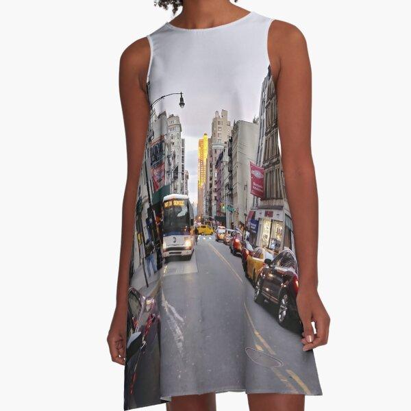 #NewYorkCity New York City #Neighbourhood, #Street, #Road, Lane, Urban area, #City, Town, Downtown, Human settlement A-Line Dress
