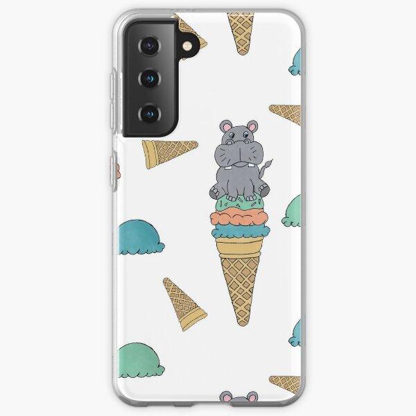 Cute Hippo sitting on an Icecream cone seamess surface pattern Samsung Galaxy Soft Case