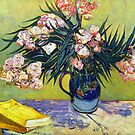 'Still Life with Oleander' by Vincent Van Gogh (Reproduction) by Roz Abellera Art Gallery