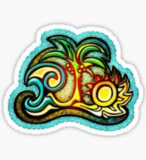 Rio de Janeiro, Brazil, Waves, Palm, Sun Sticker