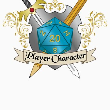Player Character d20 Crest Sticker by NaShanta