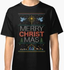 Ugly Christmas Sweater - Knit by Granny - Merry Christ Mas - Religious Christian Colorful Classic T-Shirt
