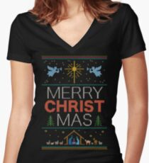 Ugly Christmas Sweater - Knit by Granny - Merry Christ Mas - Religious Christian Colorful Women's Fitted V-Neck T-Shirt
