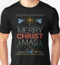Ugly Christmas Sweater - Knit by Granny - Merry Christ Mas - Religious Christian Colorful T-Shirt