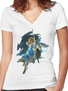 Zelda Breath of the Wild Archer Link Women's Fitted V-Neck T-Shirt