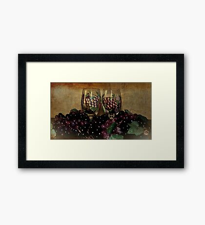 Hand Painted Wine Glasses, Grapes & More 2nd Rendition Framed Print