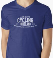 Authentic Cycling Portland Mens V-Neck T-Shirt
