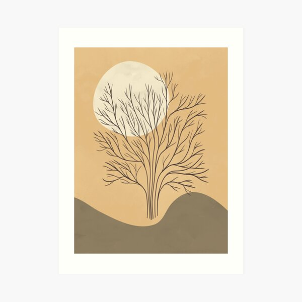 Minimalist landscape art with a tree and a sun, abstract minimal landscape with lines and shapes Art Print