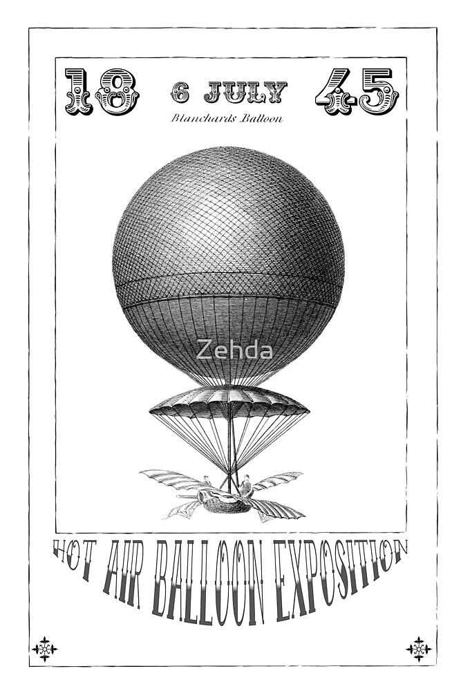 Steampunk Hot Air Balloon Poster Art by Zehda