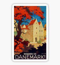 Danemark, Vintage travel ad poster for Denmark Sticker