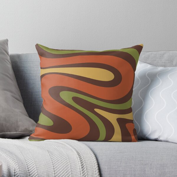 70s Swirls Abstract Pattern in Brown, Burnt Orange, Mustard Yellow, and Avocado Green Throw Pillow