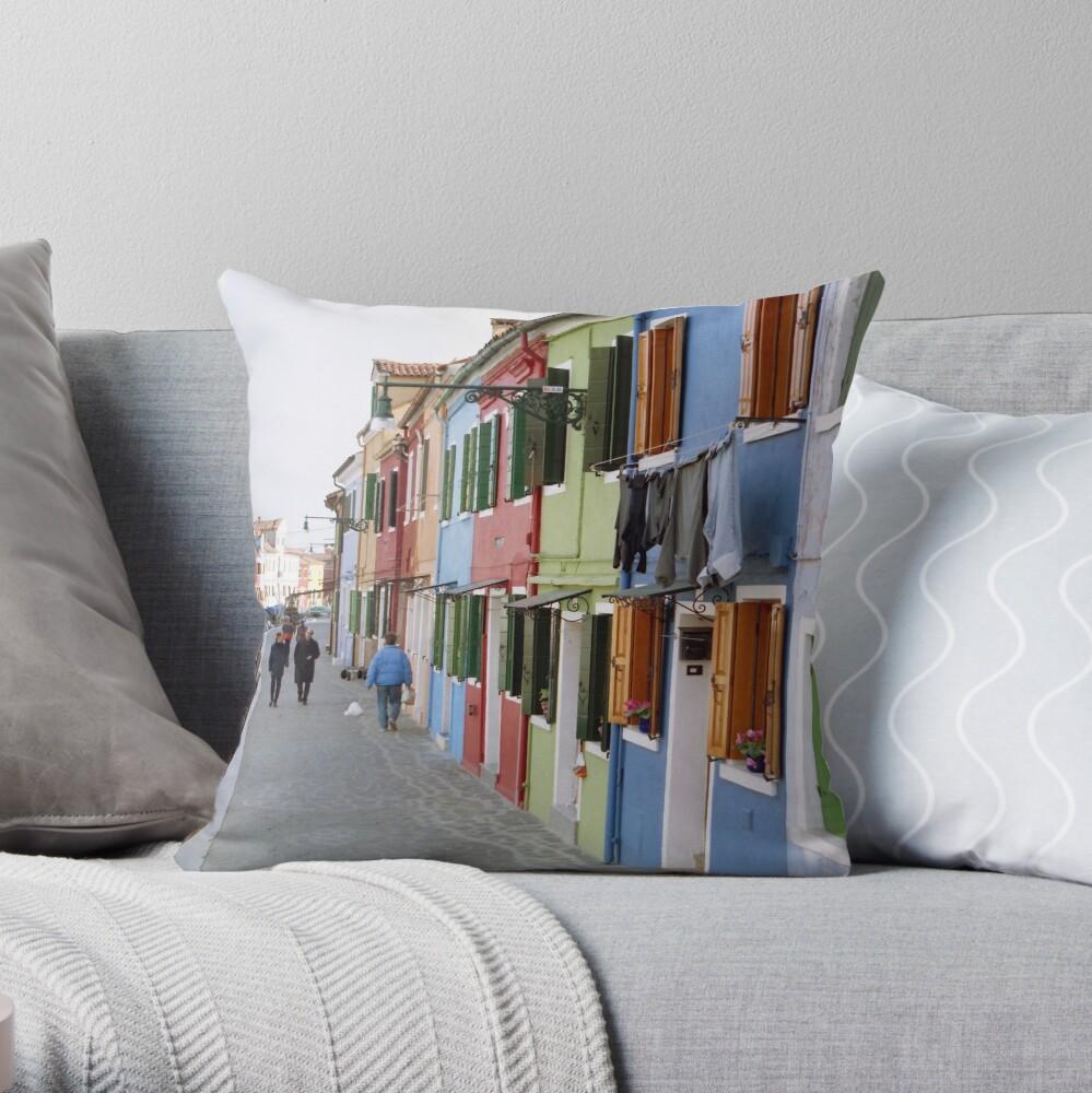 Colours of Burano Throw Pillow