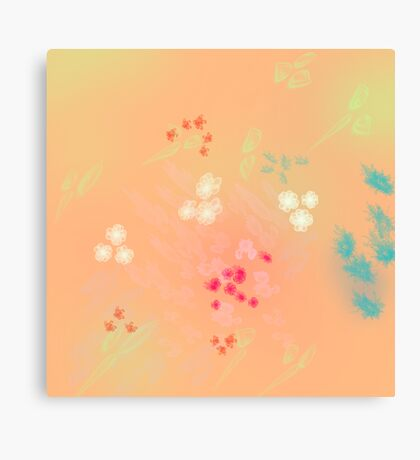 Floral life explosion - peach Canvas Print