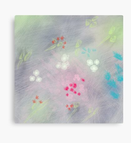 Floral life explosion - grey Canvas Print