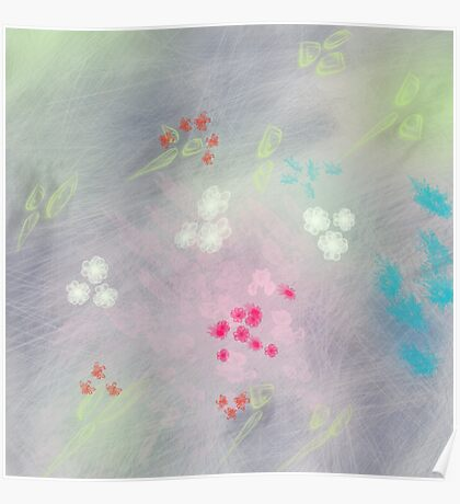 Floral life explosion - grey Poster