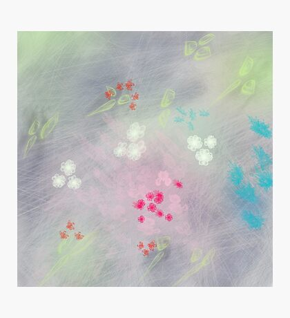 Floral life explosion - grey Photographic Print