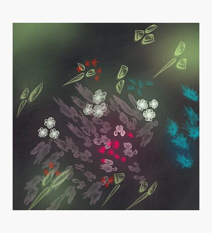 Floral life explosion - dark Photographic Print
