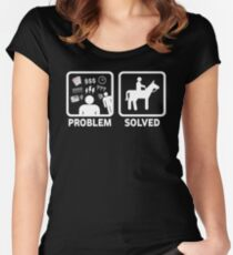 Funny Horse Riding Problem Solved Women's Fitted Scoop T-Shirt