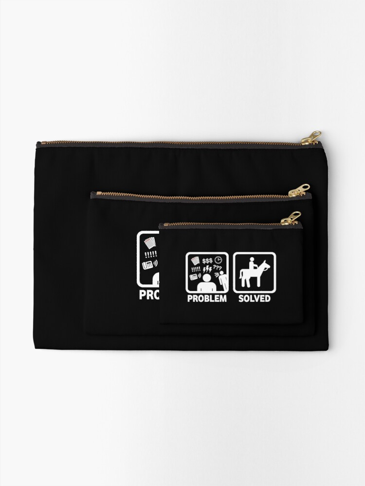 Alternate view of Funny Horse Riding Problem Solved Zipper Pouch
