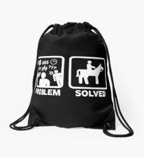 Funny Horse Riding Problem Solved Drawstring Bag